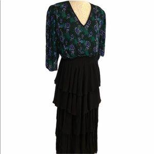 Diane Freis Vintage 80's Tiered Silk Dress